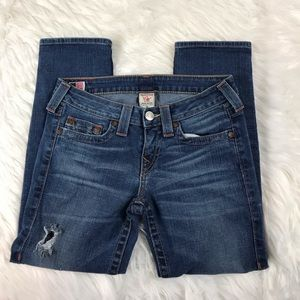 True Religion Lizzy Cropped Blue Jeans